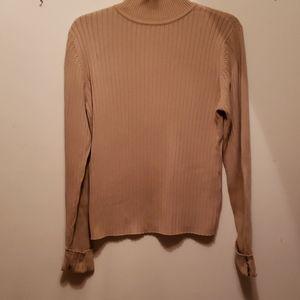 Camel. Colored Mock Neck Tommy Hilfiger Sweater